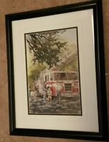 Framed Fire fighter print by Wm Biddle