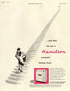 1952 large full page 2-color ad for Hamilton Dryers