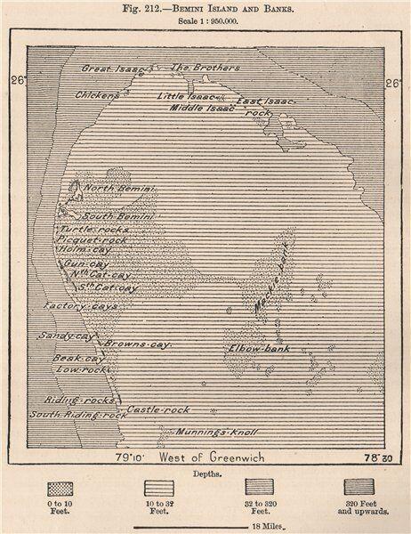 Bimini Island and Banks. Bahamas 1885 old antique vintage map plan chart