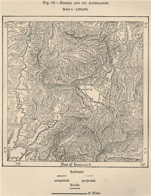 Bogota & approaches. Railways complete & projected. Colombia 1885 old map