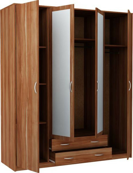 New Castle 4 Door 2 Drawer Mirrored Wardrobe - Walnut