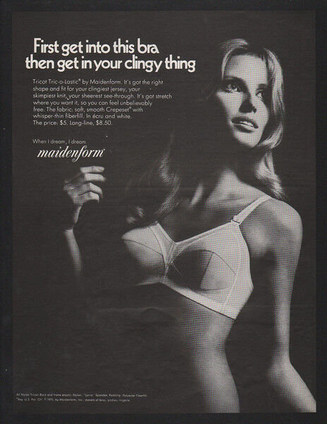 1970 Sexy Woman wearing MAIDENFORM Tricot Bra - Get your Clingy Thing VINTAGE AD