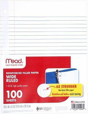Mead Reinforced Wide Ruled Filler Paper 100 Sheets - Paper Mead Filler Paper