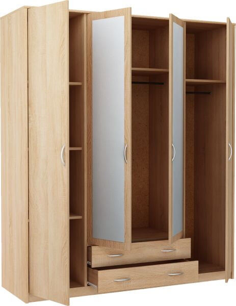 New Castle 4 Door 2 Drawer Mirrored Wardrobe - Smoky Oak