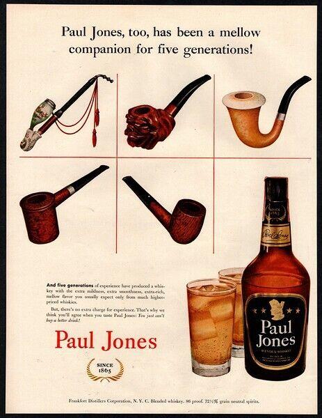 1952 PAUL JONES Whiskey - 5 Generations Of Tobacco Pipes - Retro VINTAGE AD