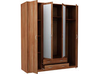 New Castle 4 Door 2 Drawer Mirrored Wardrobe - Walnut
