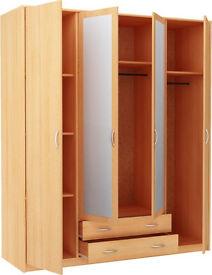 Bradford 4 Door 2 Drawer Mirrored Wardrobe - Beech
