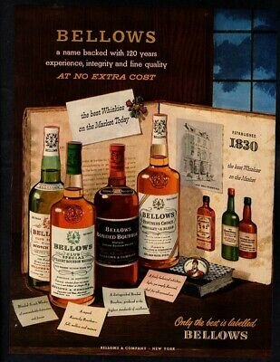 1952 BELLOWS & COMPANY Straight Whiskey - Alcohol Retro Color VINTAGE AD