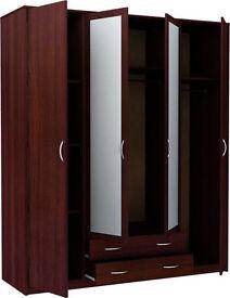 Bradford 4 Door 2 Drawer Mirrored Wardrobe - Wenge