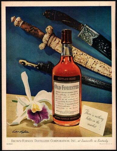 1946 OLD FORESTER Whiskey - Swords - Daggers - Alcohol - Original VINTAGE AD