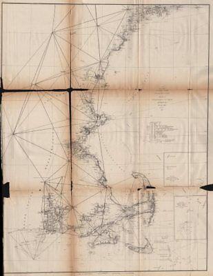 NEW ENGLAND COAST. Boston Cape Cod Nantucket Providence Portland. USCGS 1871 map