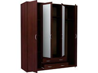 Bradford 4 Door 2 Drawer Mirrored Wardrobe - Wenge