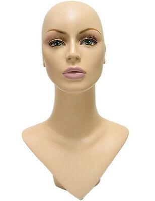 MN-176 V-Neck Female Fleshtone Mannequin Head Form w/ Pierced Ears, Handpainted