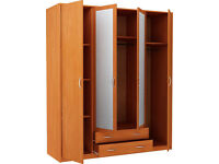 New Castle 4 Door 2 Drawer Mirrored Wardrobe - Oak