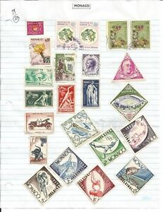 Monaco-63-stamps-mounted-on-pages