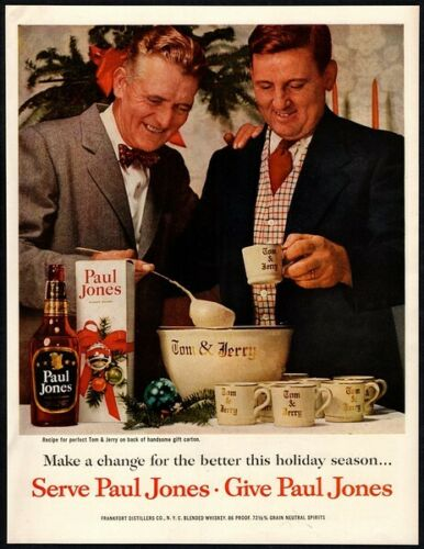 1954 PAUL JONES Whiskey - Christmas - Holiday - Tom & Jerry - Retro VINTAGE AD