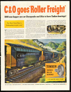 1947 full-page magazine ad for Timken Bearings- train graphics