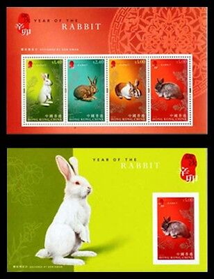CHINA HONG KONG SC 1430A-30B 2011 LUNAR NEW YEAR OF RABBIT S/S & IMPERF S/S