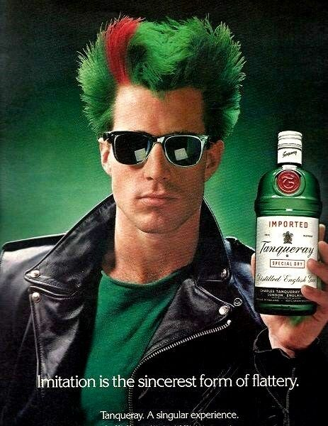 St. Patricks TANQUERAY English GIN Red Green MOHAWK Liquor AD Advertisement 1988