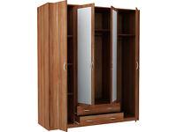 Bradford 4 Door 2 Drawer Mirrored Wardrobe - Walnut