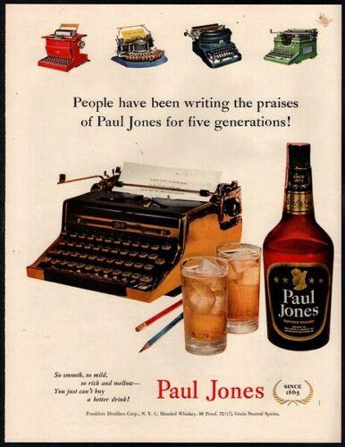 1951 PAUL JONES Whiskey - Alcohol - Typewriter - Retro Color Print VINTAGE AD