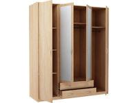 New Castle 4 Door 2 Drawer Mirrored Wardrobe - Smoky Oak