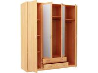New Castle 4 Door 2 Drawer Mirrored Wardrobe - Beech