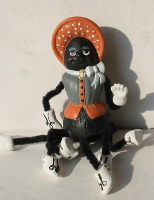 Halloween Spider Lady with Bonnet and Shoes Ceramic Figurine-Artist Made-UNIQUE