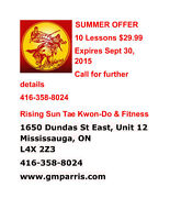 SUMMER OFFER RISING SUN TAE KWON-DO LESSONS