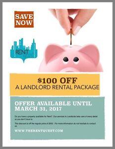 $100 off LANDLORD RENTAL PACKAGE