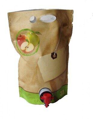 """(2,39€/1Stk) 10 Stück 3 Liter Bag in Box Beutel  """"Jute""""selbststehend"""