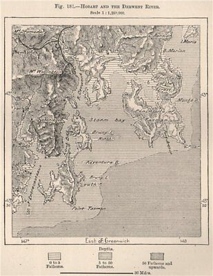 Hobart and the Derwent river. Australia 1885 old antique map plan chart