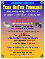 Sasquatch Lions Club - Texas Hold'em Tournament