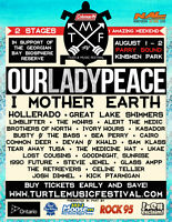 Our Lady Peace  Turtle Music Festival Parry Sound Vendors Wanted