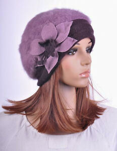 Winter-Warm-Rabbit-Fur-Wool-Womens-Hat-Beanie-Cap-Beret-Cute-Flower-15-Colors