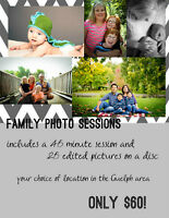 Fun Family Photo Sessions - only $60!