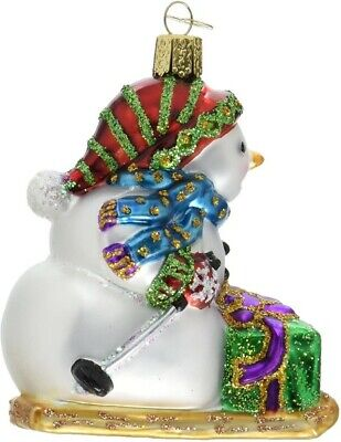 Old World Christmas 24163 Glass Blown Snowman on Skis Ornament