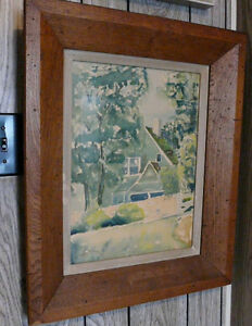 Old Water Colour in wood frame of country house.