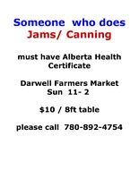 Wanted Baker/ Canner ..Vendors for Farmers Market