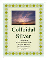 Colloidal Silver  .999 pure by the gallon or 20 oz. bottle