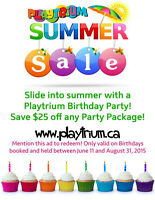 Come to the Playtrium for your next Birthday Party-Save $