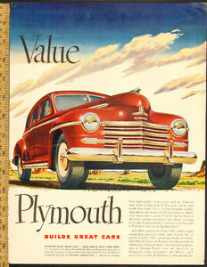 Beautiful 1948 original full-page, color print ad, Plymouth