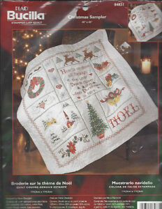 Bucilla Stamped cross stitch Christmas Sampler quilt/ sewing