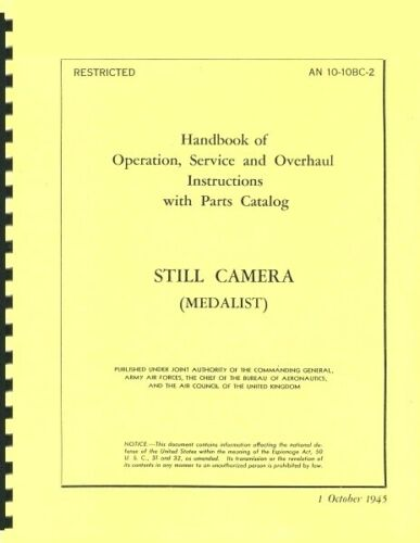 Kodak Medalist Camera Handbook of Operation, Service, Overhaul Reprint