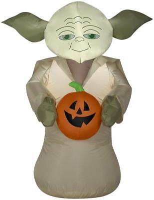 3.5' Airblown Yoda Holding Pumpkin Star Wars Halloween Inflatable