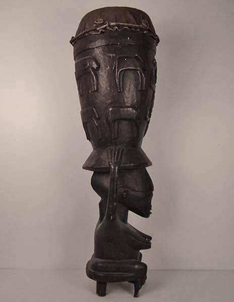 Largre African Caryatid Ceremonial Ritual Drum Pinge Senufo Tribe Africa