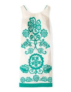 Boden Bnib Ursela Dress - Green/Cream - Size 10R