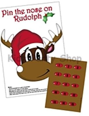 Christmas Party - Pin The Nose On The Rudolf Game for 15 - Free Postage in - Christmas Paper Plate Game