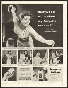 1951 full-page magazine ad for Jergens Lotion with Jane Russell