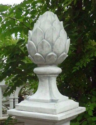 Pfeilerabdeckung, Pinienzapfen mit Sockel, Steinguss,52 cm, Gartendeko, Skulptur